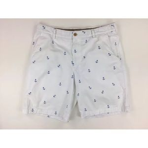 IZOD Saltwater Mens 38 White Bermuda Shorts Anchor